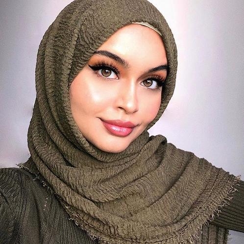 Maxi Hijab à franges Vert kaki