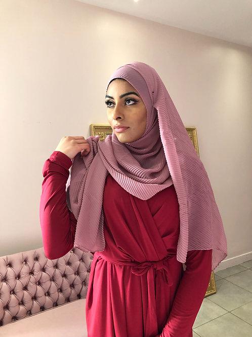 Hijab Plissé mousseline Vieux rose