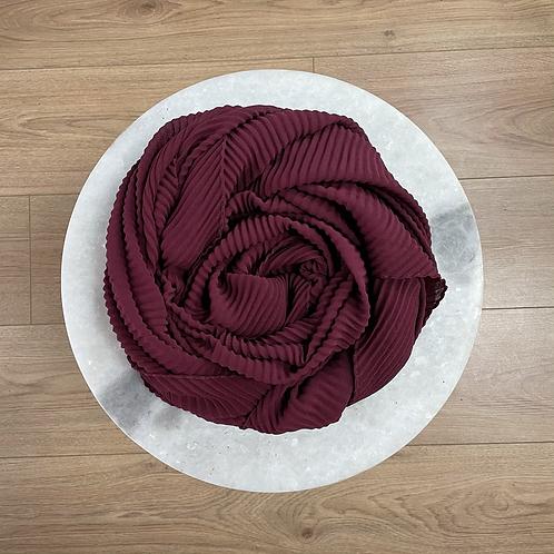 Hijab Plissé mousseline Bordeaux
