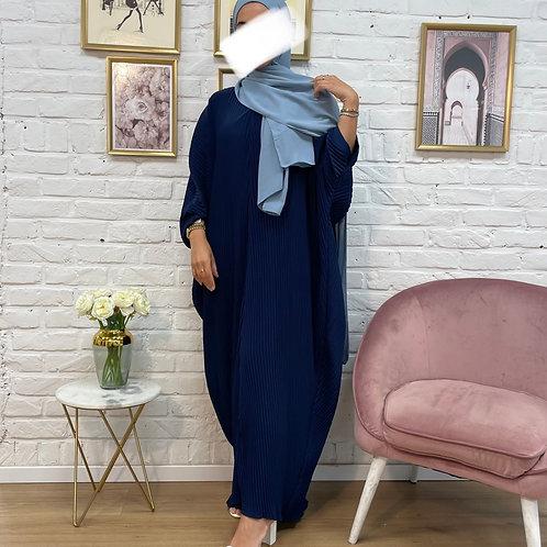 Abaya FARASHA plissé - Bleu Marine