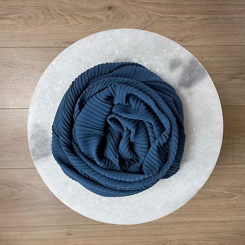 Hijab Plissé mousseline Bleu
