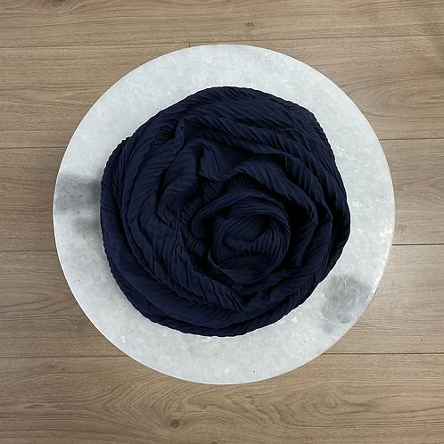 Hijab Plissé mousseline Bleu Marine