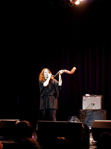 Regina Spektor blowing the shofar at the House of Blues.