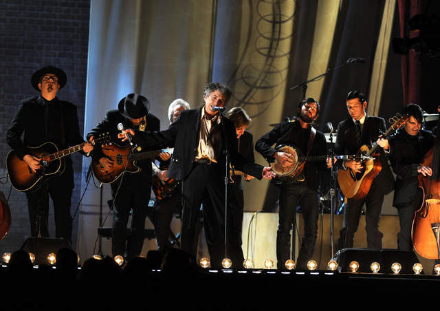 Bob Dylan with Mumford and Sons and the Avett Brothers at the Grammys in 2011.