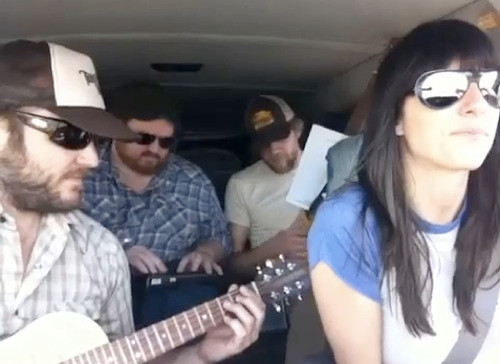 Nickie Bluhm and the Gramblers jamming in the van.