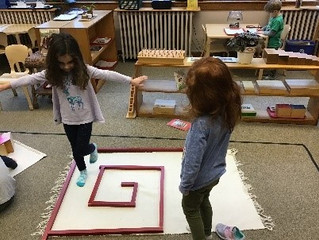 Kindergarten: Making the Maze with the Red Rods- A Montessori extension work