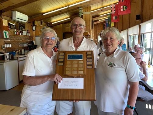 The 2019 Pointe-Claire Invitational Mixed Triples Winners: Wayne Hossack, Carolyn McGarr & Faye Hossack