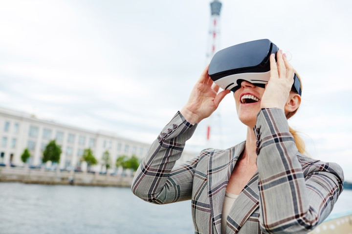 female student in virtual reality headset