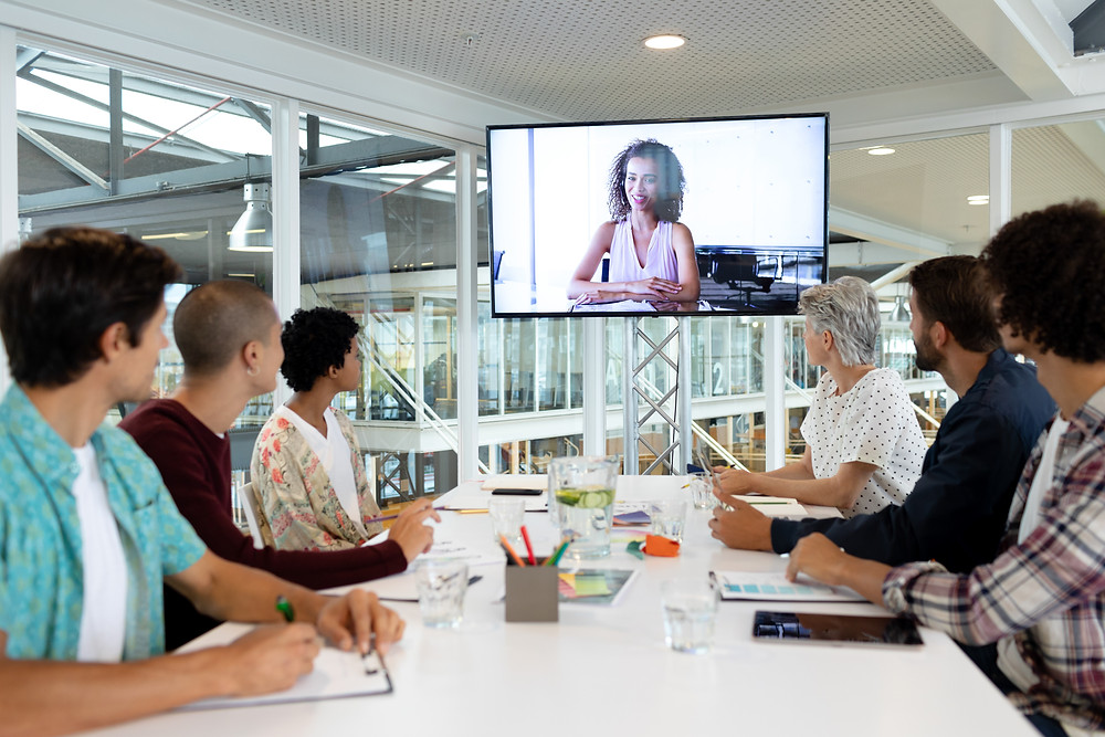 a work team attending a video conference