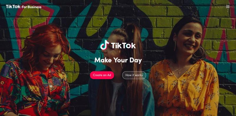 Page d'accueil principale de TikTok pour les entreprises