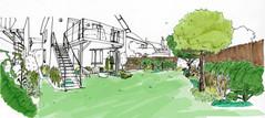 Croquis d'ambiance d'un futur jardin comestible
