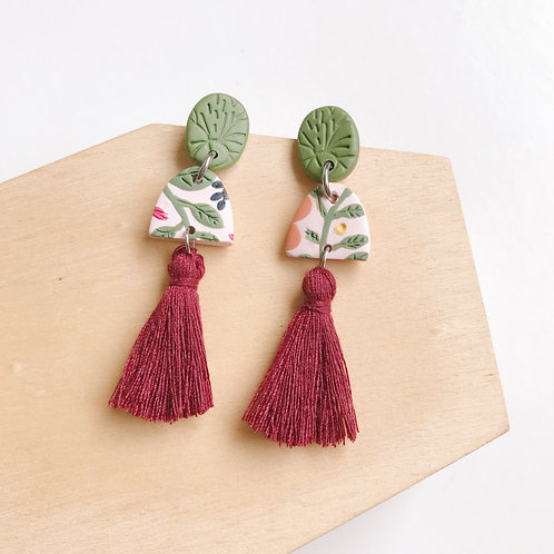 Polymer Clay Tassel Earrings Stainless Steel