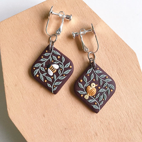 """""""The Birds & the Bees"""" Polymer Clay Earrings Clip-ons"""