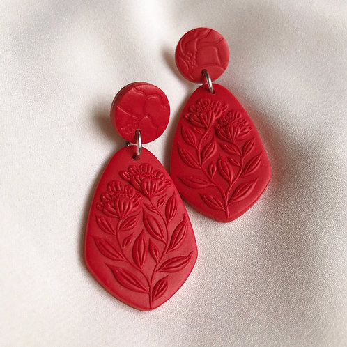 Polymer Clay Dangly Earrings: Monochrome Red