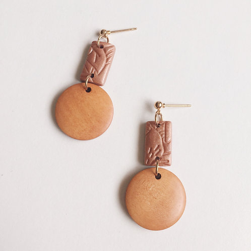 Polymer Clay Wood Drops Dangle Earrings