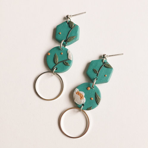 """Tallulah"" Polymer Clay Dangly Earrings"