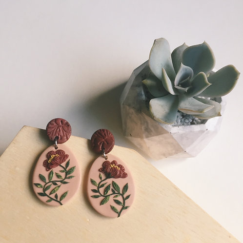 """Nicole"" Polymer Clay Floral Earrings Stainless Steel Pink & Burgundy 4.2cm"