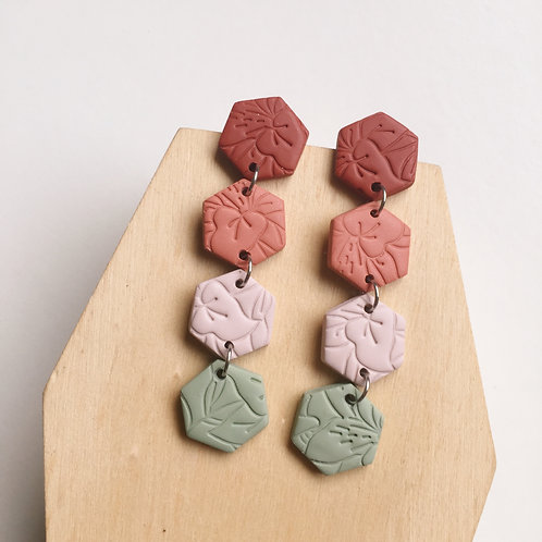 Polymer Clay Hexagon Dangly Earrings Stainless Steel