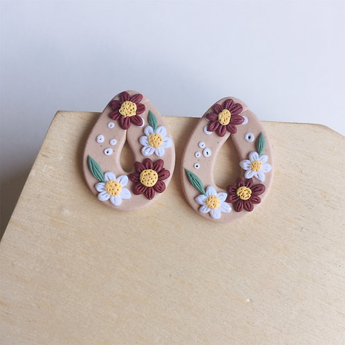 Polymer Clay Floral Teardrop Studs Stainless Steel