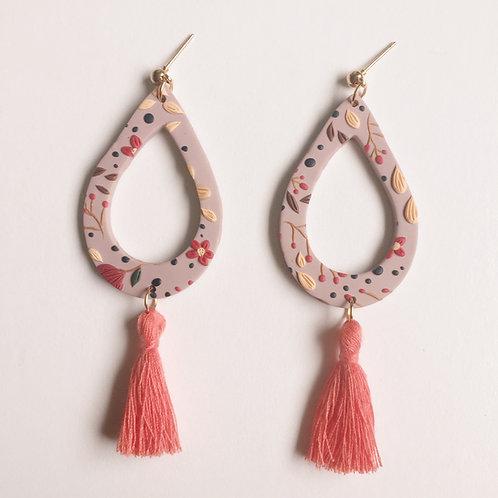 """""""Etta"""" Polymer Clay Teardrop Tassel Earrings"""