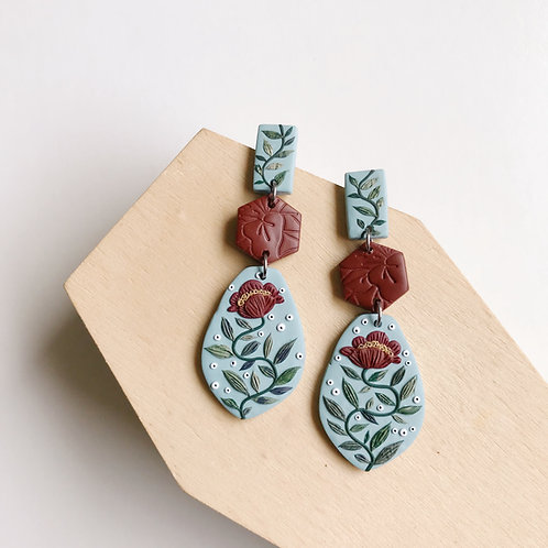 Polymer Clay Dangly Earrings Stainless Steel