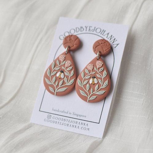 Bee Friends Teardrop Earrings (Burnt Orange with Pink Roses)