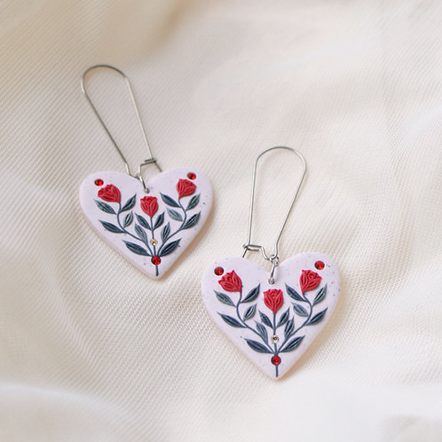 Red Floral Heart Earrings Stainless Steel