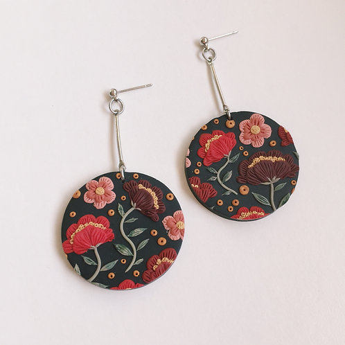 """Freda"" Polymer Clay Dangly Drop Round Earrings"
