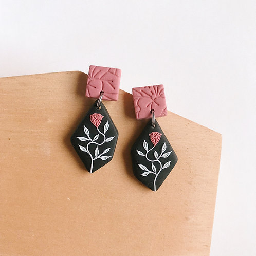 Polymer Clay Dangly Earrings Stainless Steel 9