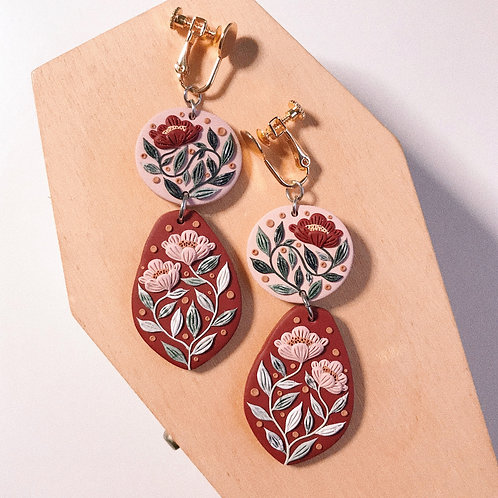 7cm Clip-on Polymer Clay Earrings