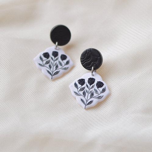 PREORDER Black Floral Dangly Earrings Stainless Steel