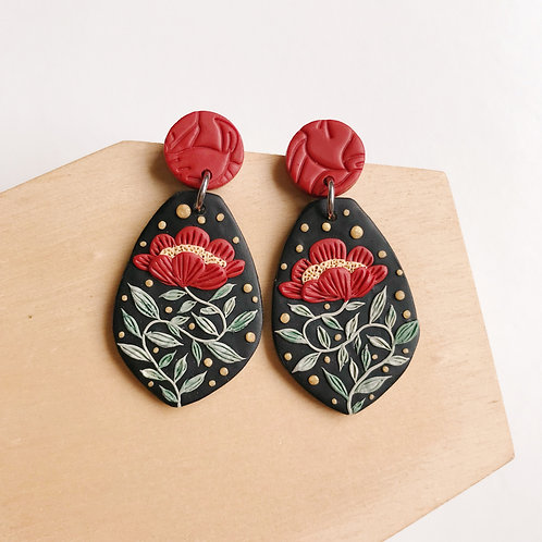#2 Red Polymer Clay Dangly Earrings Stainless Steel