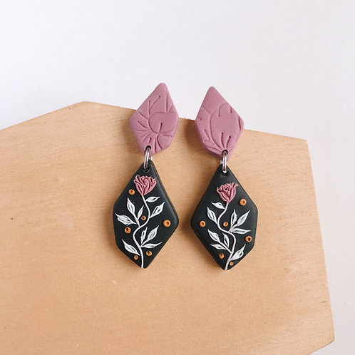 Polymer Clay Dangly Earrings Stainless Steel 7