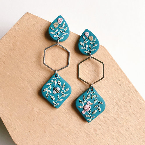 """The Birds &The Bees"" Polymer Clay Earrings"