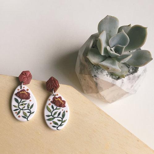 """Nicole"" Polymer Clay Tassel Floral Earrings Stainless Steel 3.6cm"