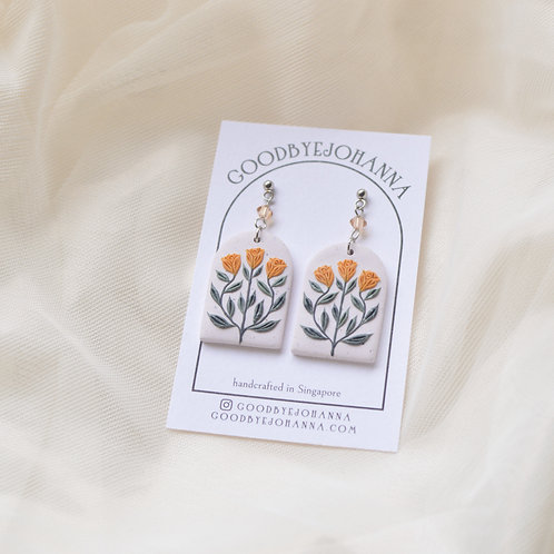 Archway Yellow Floral Earrings Crystal Stainless Steel (4)