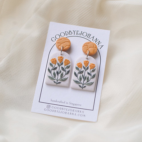 Archway Yellow Floral Earrings Stainless Steel (3)