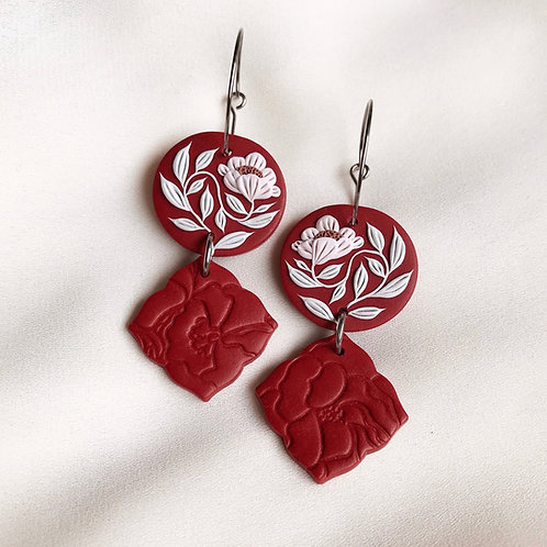 Polymer Clay Dangly Hoop Earrings: Dark Red