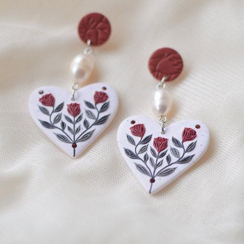 Pearl & Floral Heart Earrings (Dark Red)