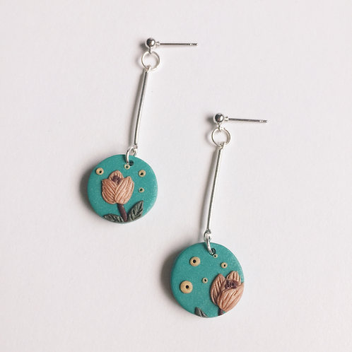 """Tilde"" Polymer Clay Circle Drop Earrings"