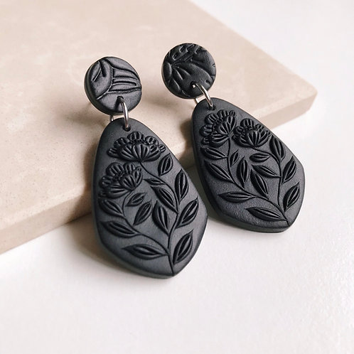 Black Polymer Clay Dangly Earrings Stainless Steel 4.7cm