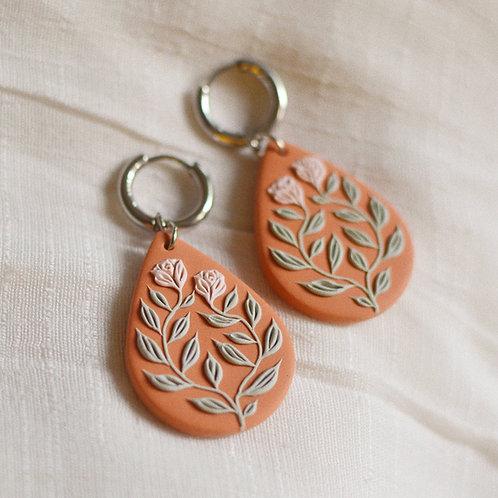 Floral Teardrop Hoop Earrings (Orange)