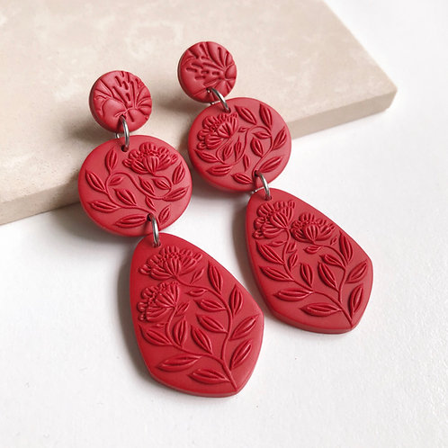 Red Polymer Clay Dangly Earrings Stainless Steel 7cm