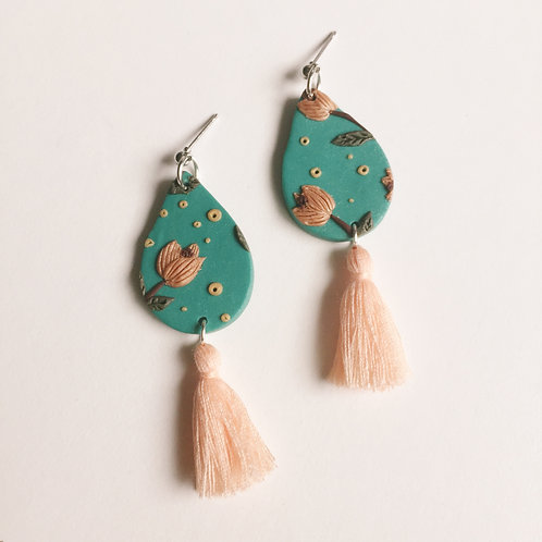 """Tilde"" Polymer Clay Teardrop Tassel Earrings"