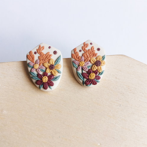 Polymer Clay Floral Stainless Steel Studs
