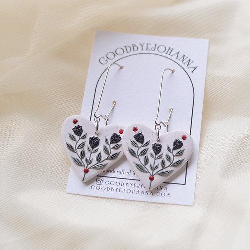 Black Floral Heart Earrings Stainless Steel