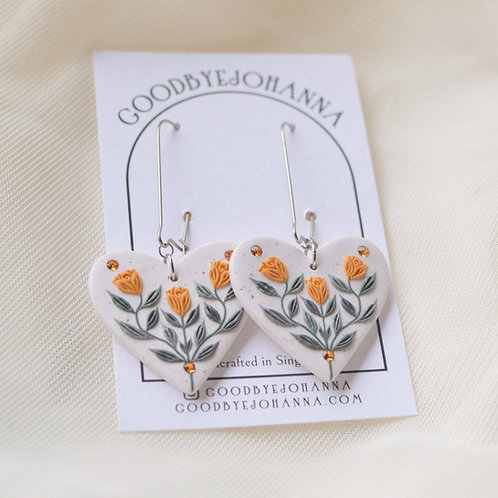 PREORDER Floral Heart Hook Earrings (Yellow or Pink)