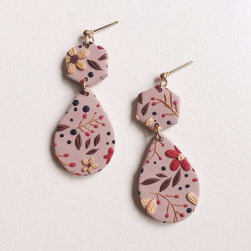 """Etta"" Polymer Clay Floral Dangly Earrings"