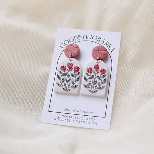 Archway Cerise Floral Earrings Stainless Steel (2)