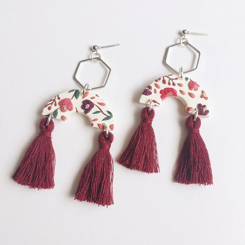 Floral Polymer Clay Statement Tassel Earrings